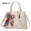 Colorful Bow Top-Handle Bags PU Leather Women Handbag Messenger Bags Fur Ball Luxury Ladies Shoulder Bag Bolsa Feminina ACELURE