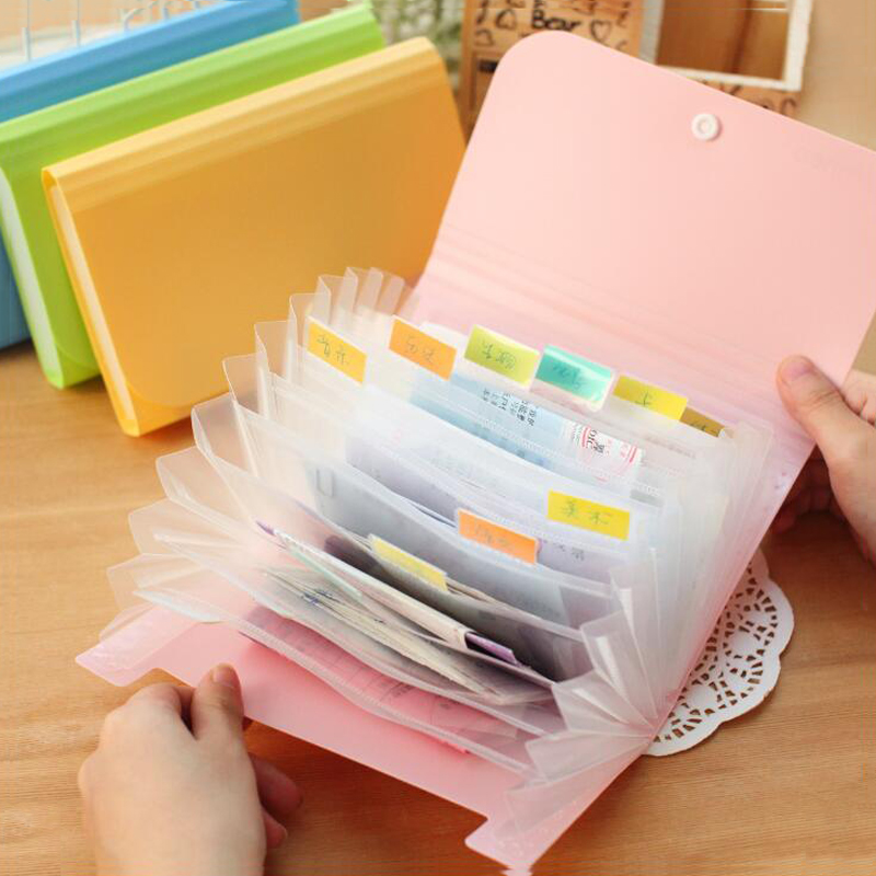 Plastic Candy Color A6 File Folder Small Document Bags Expanding Wallet Bill Folders for Documents Fichario Escolar