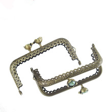 10Pcs Green Resin Ball Flower Head Coins Purse Rectangle Frame Kiss Clasps Clips Bronze Tone Lock Clutch Handle 8.5cm