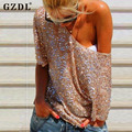 Sexy Summer Women Ladies Sequin Bling Shiny Casual Blouse O Neck Half Sleeve Clubwear Tops Blusas Femininas Plus Size CL2721