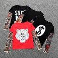2017 Primavera/Otoño Nueva Llegada Niños Camisetas Patrón de Tatuaje de La Manga malla Muchachas de Los Bebés Camisetas de Algodón Tops Camisetas de Los Niños 049