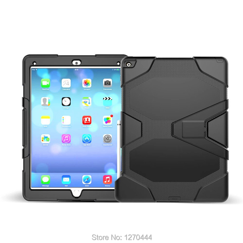 For Apple iPad Pro/plus 12.9 2017 Tablet Shockproof Hard cases Military Heavy Duty Silicone Rugged Stand Protective hard Cover case for apple ipad pro plus 12 9 tablet heavy duty rugged impact hybrid case kickstand protective cover for ipad pro 12 9