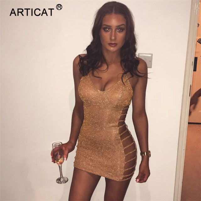 Articat Side Hollow Out Sexy Bodycon Bandage Dress Women Spaghetti Strap V Neck Mini Summer Dress Casual Party Dress Vestidos 1