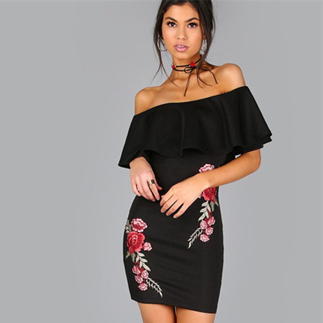 9c7d83659922 Women s romantic rose floral embroidered large ruffle collar off shoulder  dress pencil dress in black red