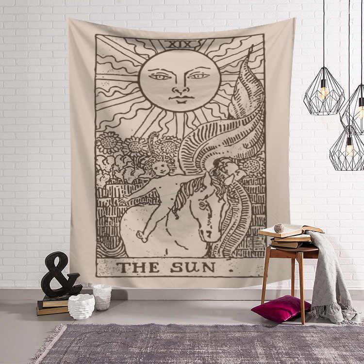 Matahari dan Bulan Dinding Permadani Dinding India Mandala Permadani Wall Hanging Carpet Psychedelic Permadani Sihir Dinding Kain Permadani