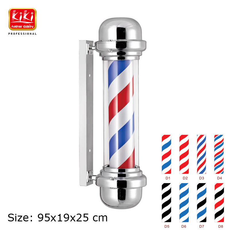 315C Roating Stainless steel Barber Pole with lamp.Salon Equipment.Barber Sign AUTOMATIC ROTATION BARBER SIGN POLE WITH LAMP