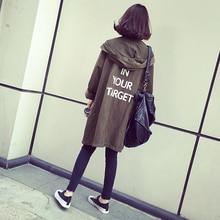 Women's Casual Hooded Coat 2019 Women Harajuku Letters Coat Trench Autumn Slim O