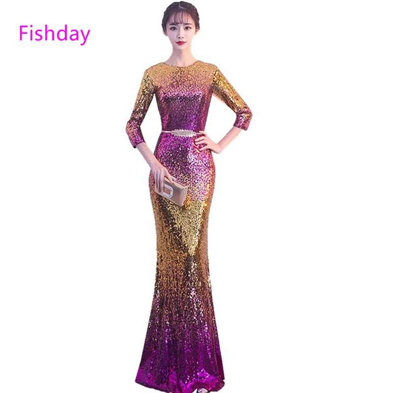 Fishday Sequin Evening Dress Trumpet Mermaid Long Women Purple Sleeved  Imported Luxury Formal Elegant Party Gown 89c89c6c4dd5