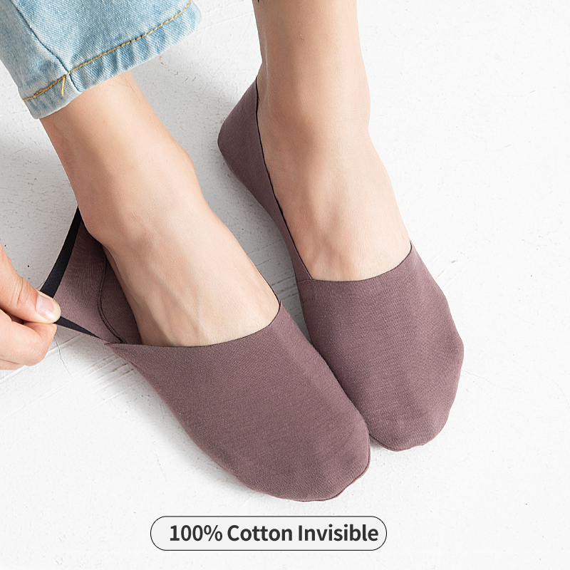 100%Cotton Soft Invisible Socks Men Thin Short Crew Male Ow Cut Silica Gel Antiskid No Show Socks Non-slip Summer Sock 1Pairs