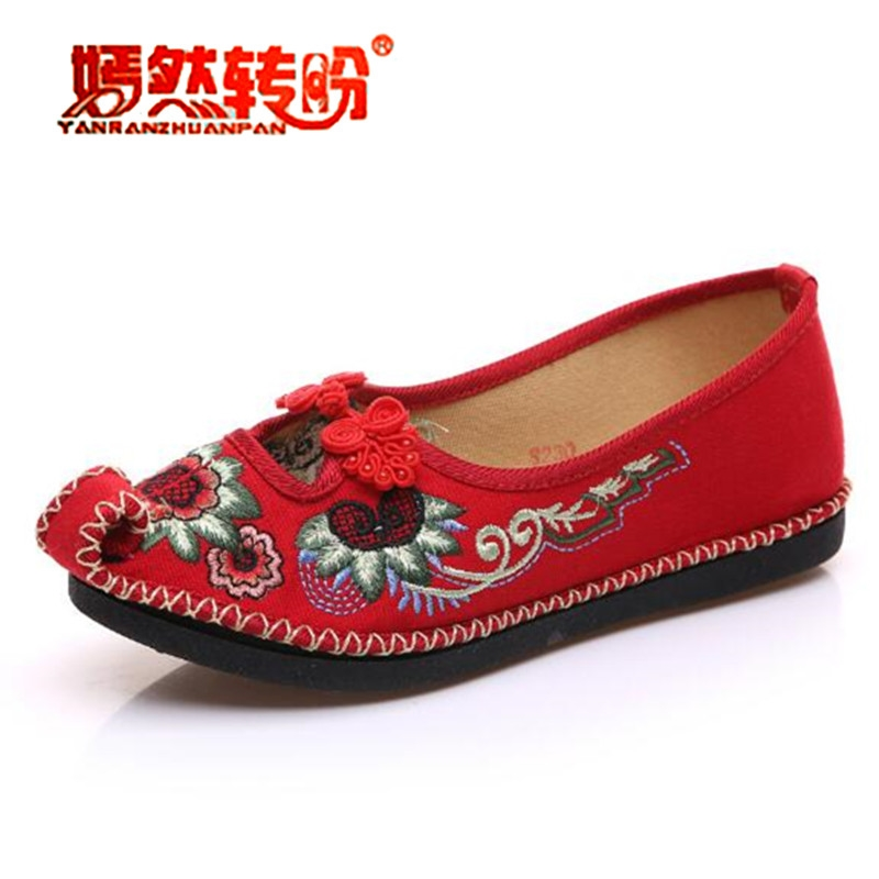 Handmade Flower Embroideried Shoes National Chinese Style Mary Janes Dance Cloth Shoes Woman Loafers Flat Soft Sole Size 34-41 vintage embroidery women flats chinese floral canvas embroidered shoes national old beijing cloth single dance soft flats