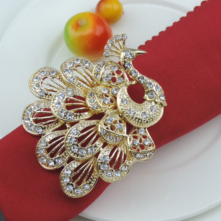 Tangpan Alloy Napkin Rings with Big Multilayer Delicately Vivid Hollow out Peacock and Diamod Wedding Banquet