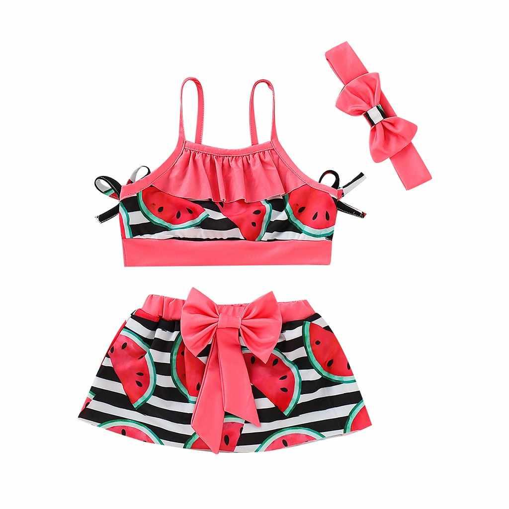 Коллекция 2019 года, летние комплекты для малышей из полиэстера, 3 предмета, бикини для маленьких девочек, пляжные Топы на бретельках с фруктовым принтом + юбка + повязка на голову, купальный костюм