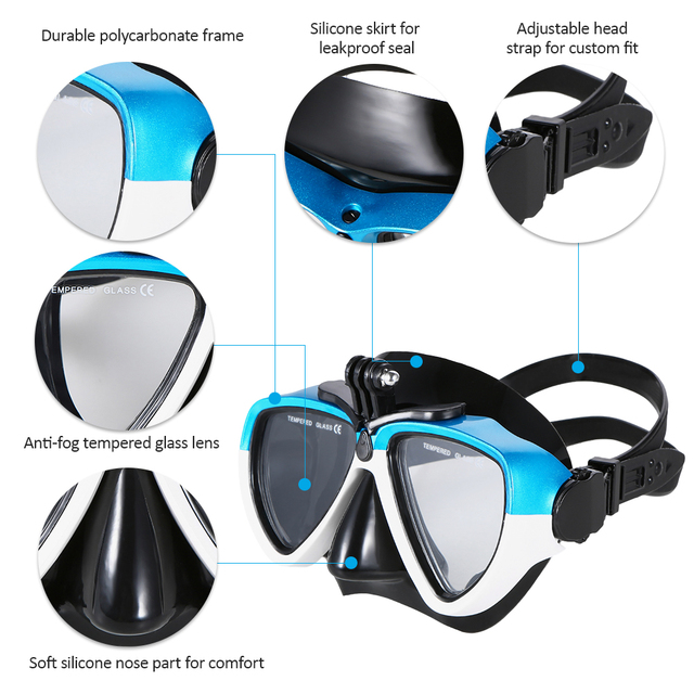 Lixada Professional Silicone Diving Mask Snorkel Anti-Fog Goggles Set Diving Glasses with Dry Snorkel Tube Swimming Equipment