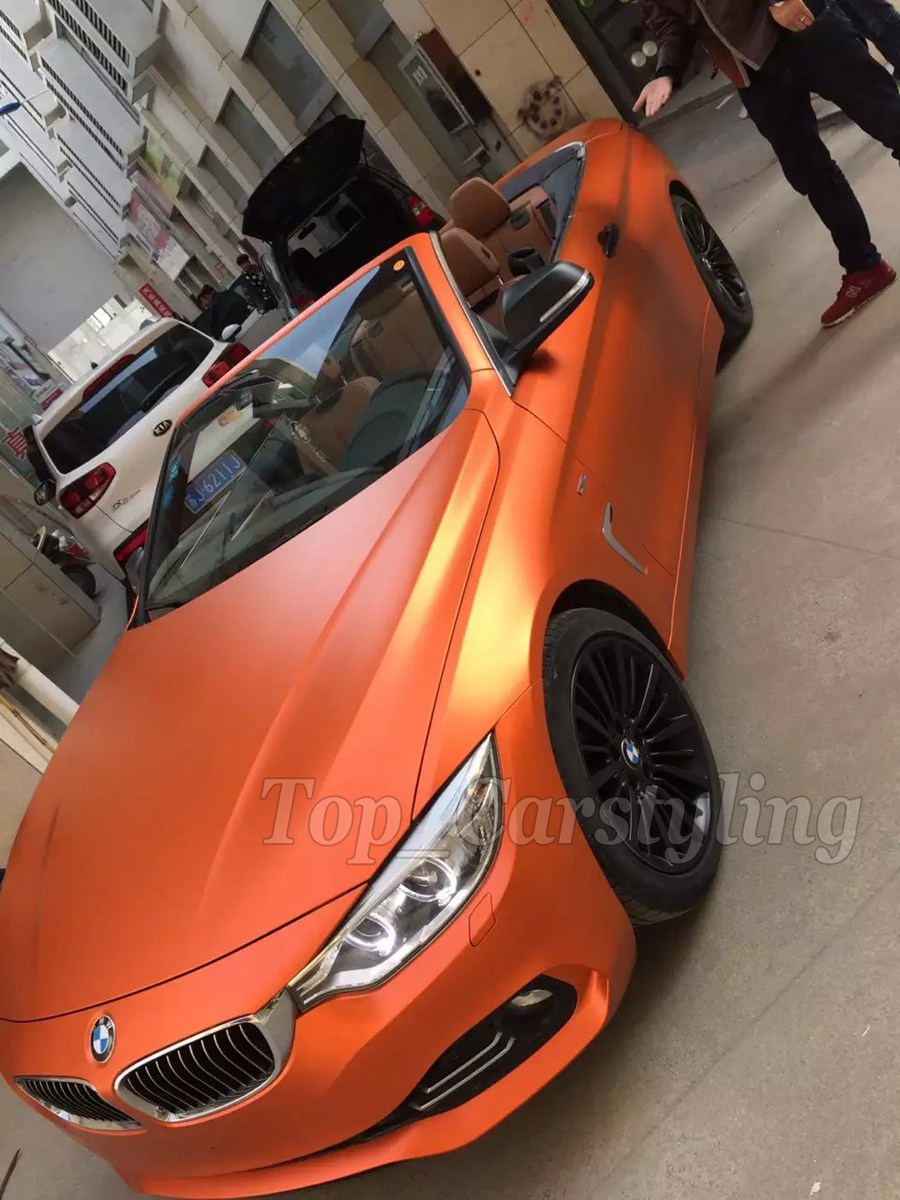 1.52x20m/roll Orange Matte chrome vinyl car wrap film high quality vinyl wrap self adesive stickers with bubble free