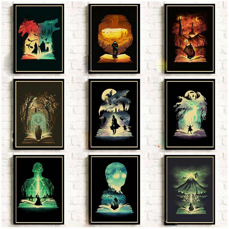 Os Animais Fantásticos e Onde Encontrá-los do vintage/The Lord Of The Rings Poster Retro Papel Kraft Pintura Da Arte da Parede Da sala Decor