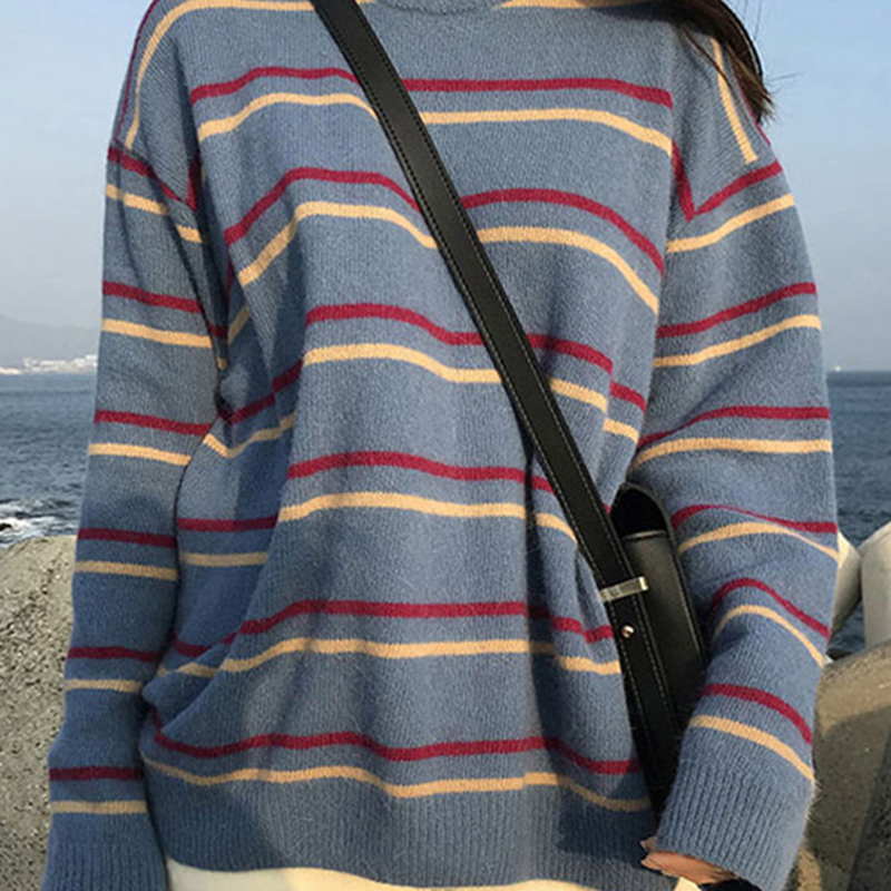 Ultimate SaleWomens Pullover Outwear Sweaters Knitted Harajuku Loose Sweet Autumn Striped Student