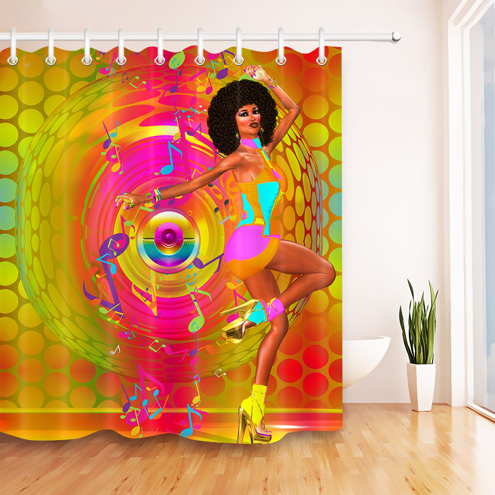 Afro Hair Girl Makeup African Woman Golden Disco Dancer Waterproof Shower Curtain Polyester Fabric Bathroom Curtain 12Hooks