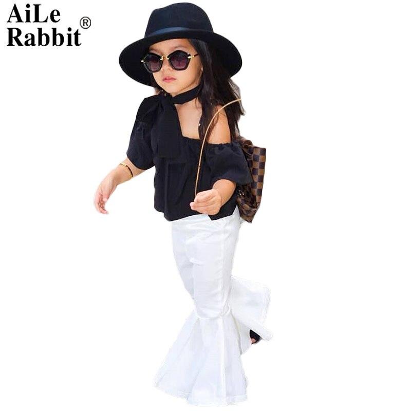 AiLe Rabbit 2018 New Girls Clothing Sets Baby Kids Clothes Children Clothing T Shirt + pants 2pcs Lipstick patch fashion set aile rabbit summer 2016 new baby boy pattern rabbit toddler plaid kids clothes children clothing set