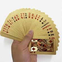 Golden Playing Cards Deck Of Gold Foil Pokers Set Magic Cards 24K Gold Plastic Foil Pokers Durable Waterproof Cards цена и фото
