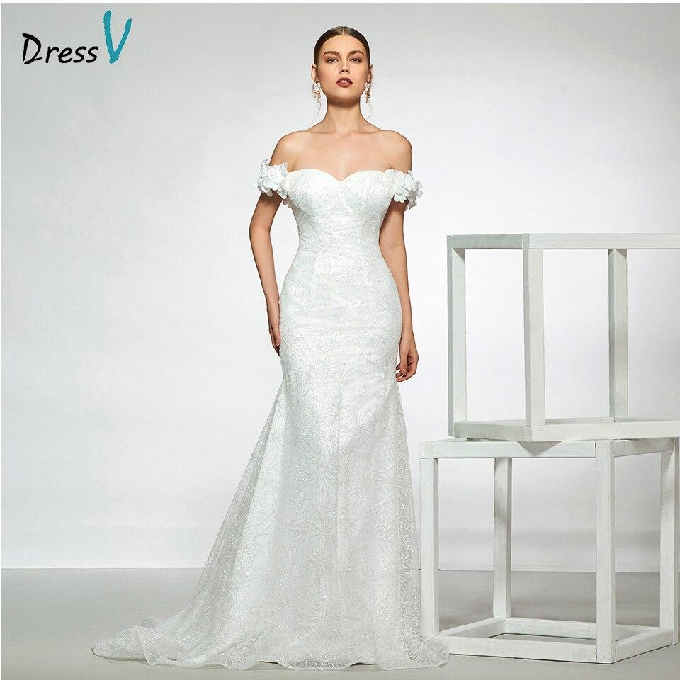 Dressv Elegant Off The Shoulder Wedding Dress Short Sleeves Mermaid Lace Floor Length Simple Bridal Gowns Wedding Dress Leather Bag,Short Royal Blue Dress For Wedding Guest