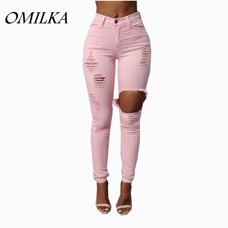 OMILKA Jeans Ripped Women 2017 Hot Mid Waist Skinny Pencil Jeans Sexy Pink Slim American Apparel Ripped Boyfriend Elastic Jeans omilka women ripped boyfriend jeans 2017 mid waist hole knee skinny pencil pant slim elastic cut out white denim jeans for women