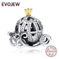 925 Sterling Silver Cinderella S Pumpkin Charm Clear CZ Fit Original Pandora Bracelet Pendants Authentic DIY