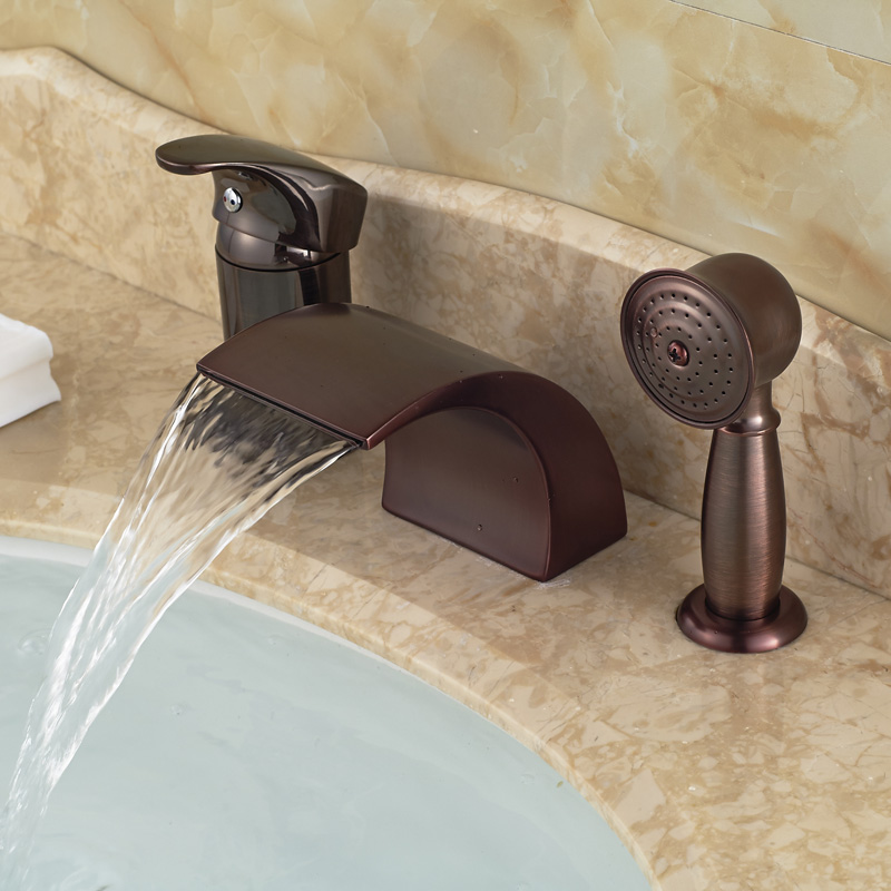 oil rubbed bronze 3pcs deck mounted waterfall bathtub bath tub faucet set with handshower
