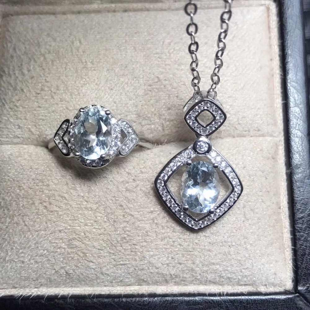 Single gem 2 กะรัต Aquamarine ชุดสี high - end treasure monopoly 925 silver luxury craft