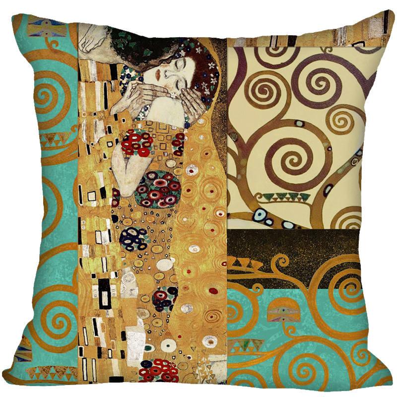 Gustav Klimt Satin Pillowcase Style Throw Pillowcase Square Pillow Cover Gift 40x40cm High Quality