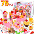 37/54/75 pcs Plastic Simulated Fruit Birthday Cake Cut Sets Children Play Toy Baby Learning Education Hobbies Girl gift 3+