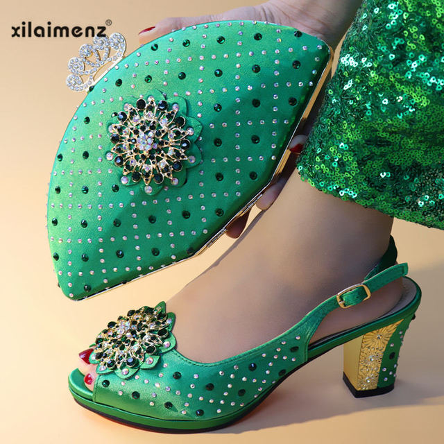 Green Color Comfortable Heels Italian Shoes with Matching Bag for Woman Nigerian Shoes and Bag Set with Crystal