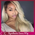 Natural straight hair glueless lace front wig free part 1b#/613# natural looking front lace dark roots 3inch blonde color