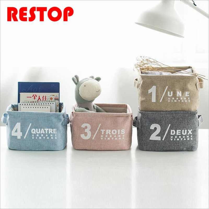 Hot Sales Modern Style Waterproof Cotton Linen Desk Storage Box Holder Jewelry Cosmetic Stationery Organizer Case RES297