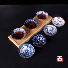 Blue Porcelain Kung Fu Cup Large Ceramic Bucket Glazed Tea Set Single Puer Personal A