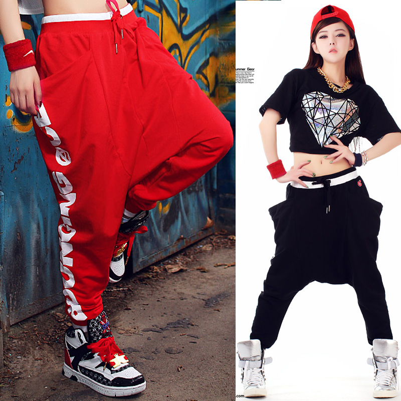 Black Red Cotton Pants Womens Low Crotch Pants Loose Casual Hip Hop Harem Pants Fashion Street