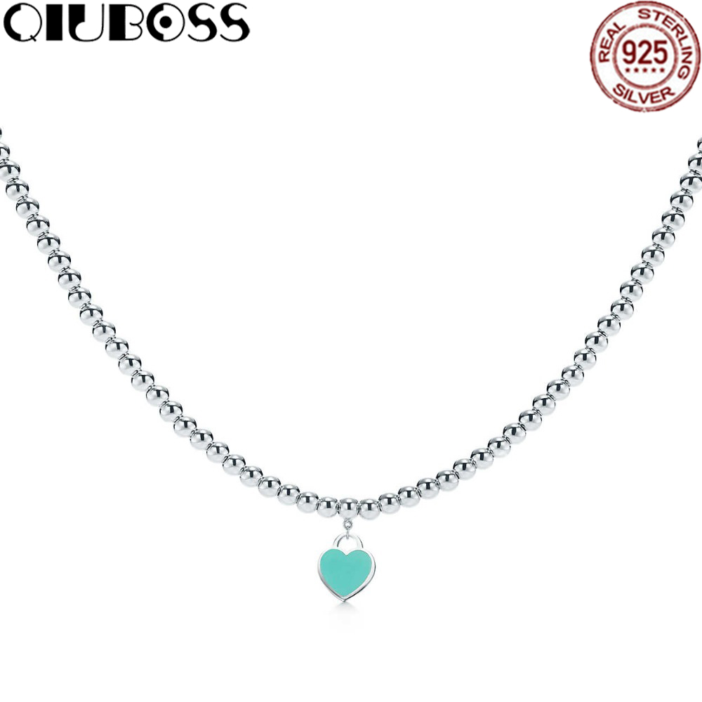 TIFF 100% 925 Sterling Silver Bead Necklace Heart Pendant Silver Necklaces Girls Birthday Gifts Jewelry Wholesale tiff 100