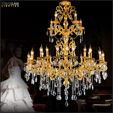 Luxurious Gold Large Crystal Chandelier Lamp Lustre Light Fixture 3 tiers 29 Arms Hotel MD3034 D1200mm H1450mm