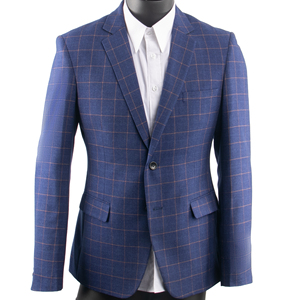 Image 1 - ダークブルー市松スーツ男性ブルーチェックスーツテーラーメイドの男性スタイル市松ドレススーツパンツ、 2019 ファッション衣装確認 Mesure
