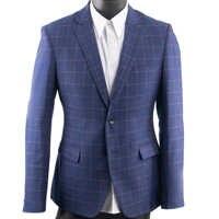 Dark Blue Checkered Suit Men Blue Check Suit Tailor Made Men Style Checkered Dress Suit Pants, 2019 Fashion Costume Sure Mesure