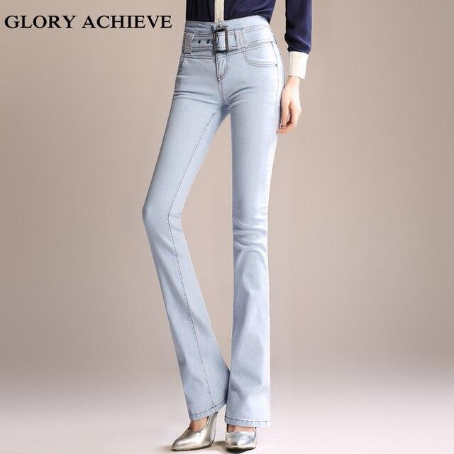 f727f1ca9ed Taille haute Jeans femmes Style rétro cloche bas Skinny Jeans femme Slim  élastique Flare pantalon femmes