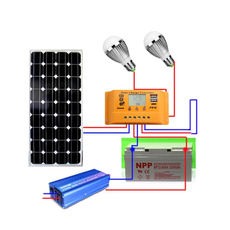 18V <font><b>100w</b></font> <font><b>solar</b></font> system photovoltaic kit system power station for <font><b>12V</b></font> <font><b>solar</b></font> <font><b>panel</b></font> batteries charger whole <font><b>solar</b></font> kit set with cable image