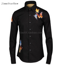 2017 New Cotton 100 % Dress Shirts High Quality Mens Casual Shirt Men Small Butterfly Print Plus Size Slim Fit Non-iron Shirts
