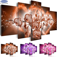 Full Square drill 5D DIY Diamond embroidery orchid flowers Diamond Painting Cross Stitch Rhinestone Mosaic wall decor 5pcs