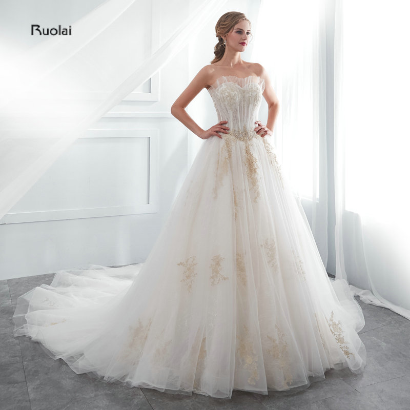 33ea2c0fe47 In Stock Real Sample Ball Gown Wedding Dress 2019 Long Strapless Bridal  Dress Formal Wedding Gown Lace Up Back vestido de noiva