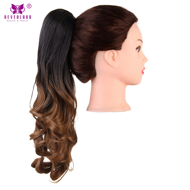 Aimei 20 Claw Clip On Ponytail Synthetic Wavy Hair Black Brown