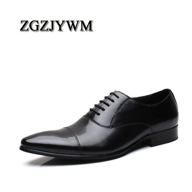 ZGZJYWM New Breathable Mens Business Lace Up Black Red Pointed Toe Formal Dress Genuine Leather Wedding