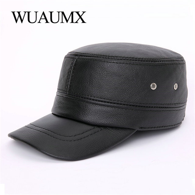 Wuaumx Cow Leather Military Hats Men Winter Warm Earflap Genuine Leather Cowskin Hat Cowhide Ceiling Earmuffs Flat Baseball Cap