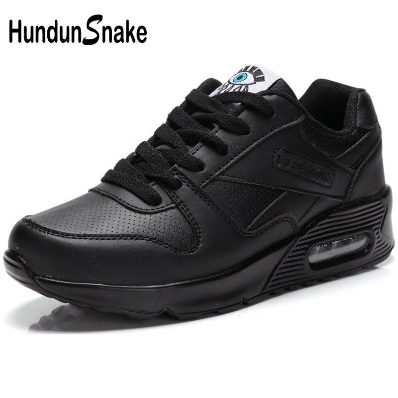 Hundunsnake Air Coussin Femmes Sport Sneakers Femme Chaussures de Sport Dames En Cuir Chaussures de Course Femmes Noir de Femmes Sport Chaussures T31