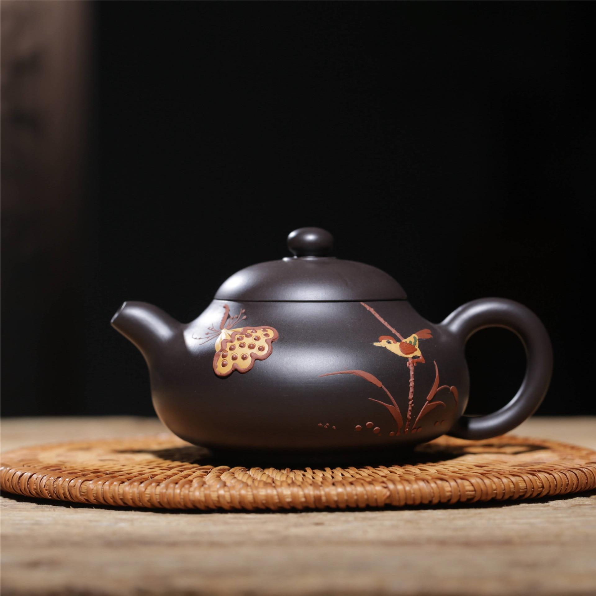 Известная ручная НЕОБРАБОТАННАЯ руда черного грязевого цветной рисунок или узор Xi Shi чайник завод прямой Wechat бизнес бесплатно агент