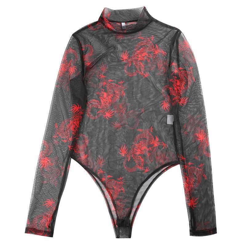 Shстайл Сетка прозрачные черные сексуальные облегающие костюмы женские с принтом дракона макет шеи с длинным рукавом крутые уличные Вечерние боди 2019